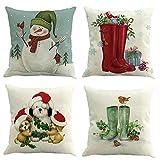 Longra 4er Set Weihnachts Kissenbezüge Kissenhüllen mit 4 Motiven Designs Weihnachtliche Dekokissen, Sofakissen und kopfkissenbezug mit Weihnachtsmotiven, 45x45 cm (E)