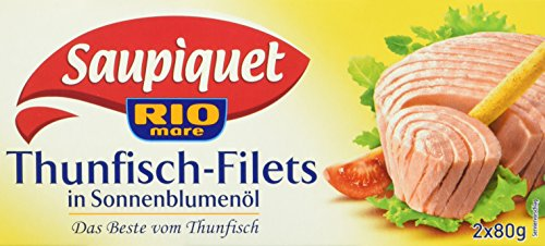 Saupiquet Thunfisch Filet in Sonnenblumenöl, 10er Pack (10 x 2 x 80 g Dose)