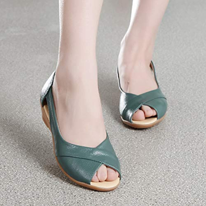 Size 35-43 Genuine Leather Wedges Sandals Women Summer shoes Casual Slip On Peep-Toe Sandals Solid Platform Sandals,bluee,US9