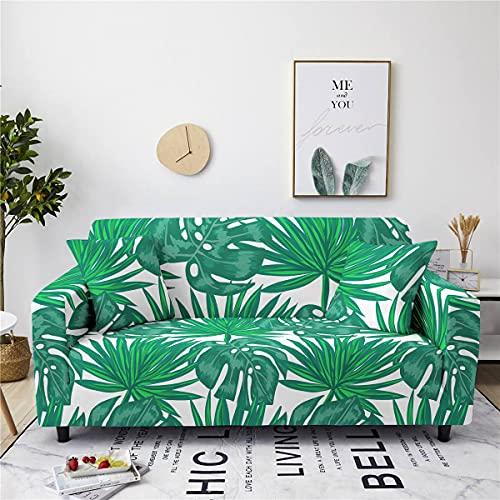 AMZAO Fodere per divani ad alta elasticità 1 2 3 4 posti Fodere per divani elastiche stampate profonde e frondose Fodera per divano universale aderente Fodera per mobili Fodere antiscivolo per mobil
