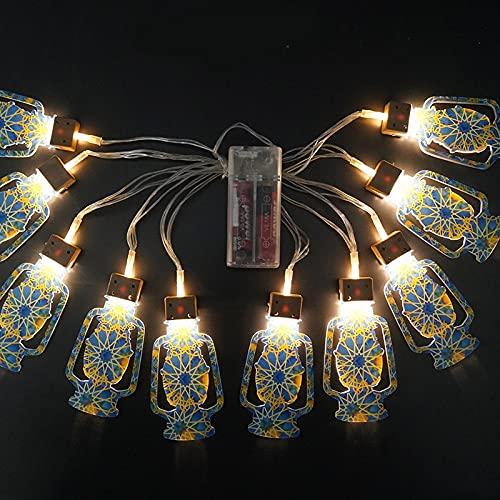 Eid Mubarak - Guirnalda de luces LED, estilo musulmán creativo, decoración de iluminación para colgar en el hogar, interior, exterior, jardín, fiesta, decoración, 2 m, 10 bombillas