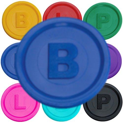 1000 Pfandmarken, Chips, Token Farbe Blau B mit den Buchstaben B P oder L in 14 Farben zum TOP-Preis von SchwabMarken!!