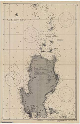 Vintography Reprinted 8 x 12 Nautical Map of Manila Bay to Taiwan 0 C&GS 28a
