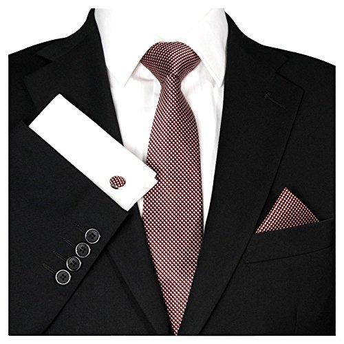 GASSANI Herrenkrawatte Krawatten-Set Wein-Rote Karo-Muster, Schmale Skinny Slim Hochzeitskrawatte Herrenschlips Einstecktuch Manschettenknöpfe