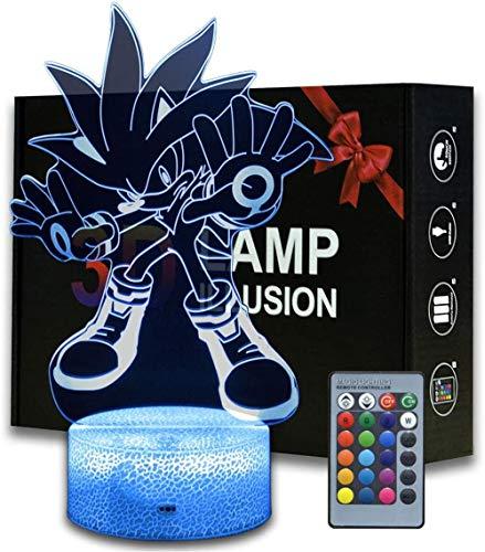 Lámpara de luz 3D Sonic El erizo A Baby Night Light Control remoto Acrílico Plano & Base ABS y Cable USB Juguete para Anime Fans