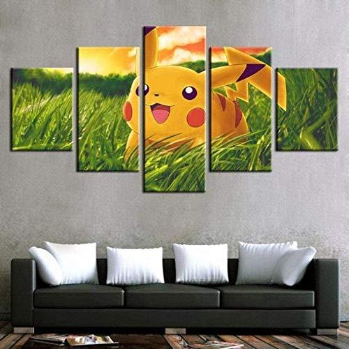 wodclockyui 5 Piezas Cuadro de Lienzo - Pikachu Pokémon Pintura 5 Impresiones de imágenes Decoración de Pared para el hogar Pinturas y Carteles de Arte HD 200cmx100cm Sin Marco