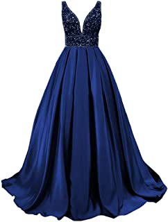 Lily Wedding Womens Beaded V-Neck Prom Dresses Long Sleeveless Satin Evening Formal Gown 2020