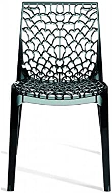 Upon Gruvyer Indoor Outdoor Dining Chairs, from Italy, Stackable, Strong (2 Chairs) (Black)