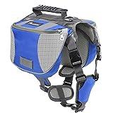 Pawaboo Mochila del Perro - Adjustable Bolsa de Sillín Portador para Mascota Pet Saddle Bag para Viajar/Senderismo/Camping, Talla Mediana, Azul & Gris