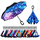 Newsight Reverse Umbrella, Double Layer Inverted Umbrella Upside Down, Self Stand, C Shape Handle, Inverse Inside Out Folding for Car, Windproof, Waterproof, Sun Protective (Constellation)