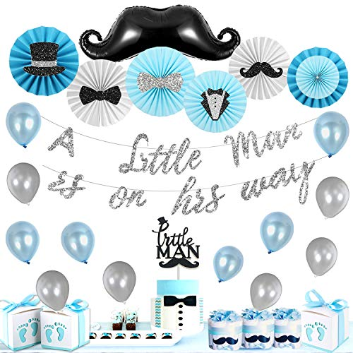 Little Man Baby Shower Decorations Supplies Kit, A LITTLE MAN IS ON HIS WAY Banner, Mustache Hat Bow Tie Themed Paper Fans, Little Man Mustache Cake Topper by Homond.