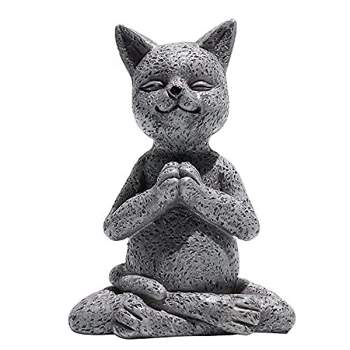 Cat Buddha Meditation Statue,Yoga Cat Garden Sculpture Collection Statue Home Indoor Outdoor Patio Lawn Decoration