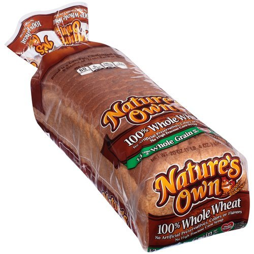 NATURES OWN WHOLE WHEAT BREAD 100% PER LOAF 20 OZ