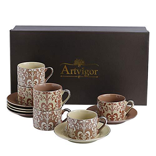 Artvigor, Porzellan Kaffeeservice, 12 TLG. Kaffeetassen 200 ml mit Untertassen, Kaffee Set in Geschenkverpackung für Weihnachten