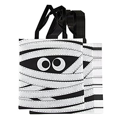 Halloween Tote Bags - 12-Pack Reusable Trick-or-Treat Bags, Party Gift Bags, Candy Goodie Toy Bags for Kids Halloween Party Favors, Mummy Design, 15 x 16 Inches