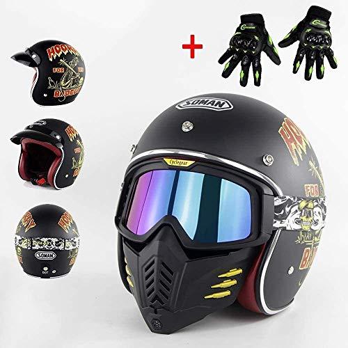 ZHXH Vintage Harley Helmet Dot Certified Scooter Damas Hombres Cruiser 3/4 Casco de cuero para adultos/con máscara extraíble Gafas + Guantes