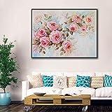 Impresiones de arte de pared Pintura de lienzo de flores abstractas en la pared Impresión de carteles nórdicos para pinturas decorativas para sala de estar 40x50cm Sin marco
