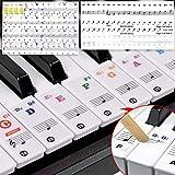 ShengRuHai 2 Conjuntos Pegatinas para teclado o piano para teclado de 54/61/76/88/36,Transparentes E...