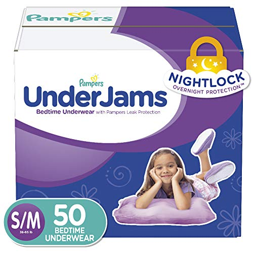 Pampers UnderJams Disposable Bedtime Underwear for Girls, Super Pack,...