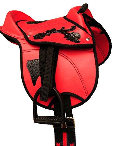 AMKA Reitkissen Rory Pony-SHETTY Sattel 10 komplettes Set mit Riemen, Gurt und Steigbügel auch für Holzpferde geeignet ROT