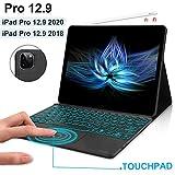 iPad pro 12.9 第4世代 ケース DINGRICH タッチパッド搭載 キーボード 2020 ipad pro 12.9 第三世代 カバー ケース ワイヤレス Bluetooth 着脱式 キーボード 薄型 軽量 多角度調整 [iPad pro 12.9 2020年/2018年 ケース](ブラック)