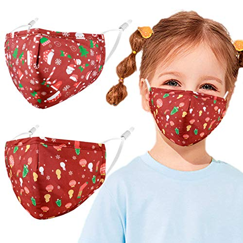 Reusable Kids Cloth Face Masks Santa Christmas Funny Designer Breathable Cute Washable Adjustable Cotton Fabric Childrens Toddler Teen Youth 2 Pack mascaras para niños, Gift for Boys Girls Color13
