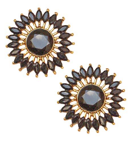 Pahal - Pendientes de oro redondo para mujer, diseño de jhumka, color negro