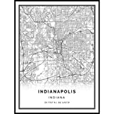 Squareious Indianapolis map Poster Print | Modern Black and White Wall Art | Scandinavian Home Decor | Indiana City Prints Artwork | Fine Art Posters 9x11