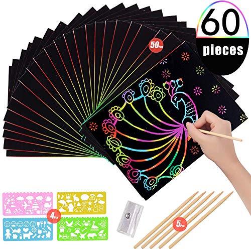 BESTZY Kratzbilder für Kinder,Kratzpapier Kinder 60 Blätter Regenbogen Kratzpapier zum Zeichnen und Basteln mit Schablonen, Holzstiften (60PCS)