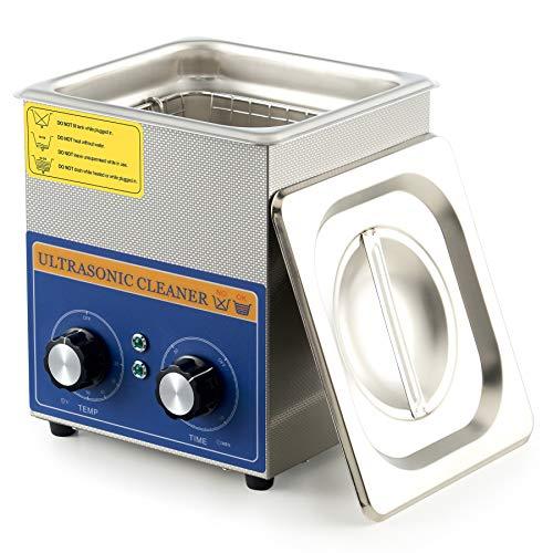 Limpiador ultrasónico VONLUCE con calentador y temporizador de lavado ultrasónico industrial de 60W para esterilización doméstica y laboratorio profesional, acero inoxidable
