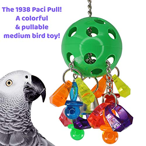 Bonka Bird Toys 1938 Paci Pull Colorful Pacifier Ring Acrylic Parrot Parrotlet Budgie Quaker African