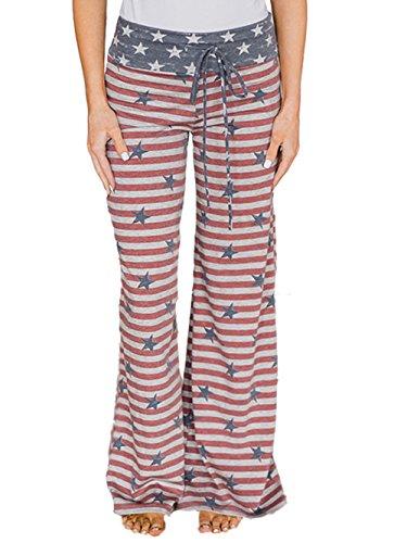 Famulily 4th of July American Flag Drawstring High Waist Wide Leg Pants Loungewear£¨2X-Large£