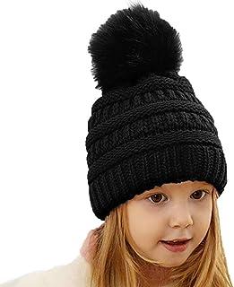 Woeoe Winter Knit Beanie Hats Warm Faux Fur Pom Hat Soft Children Cable Beanie Skull Cap for Girls Boy Black