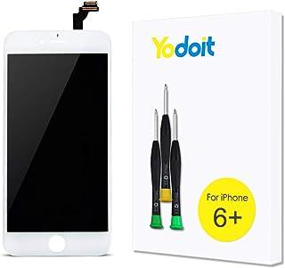 Yodoit Pantalla para iPhone 6 Plus Blanco, 5.5'' Retina Display, Táctil LCD de Repuesto Ensamblaje de Marco Digitalizador Contiene Herramientas + película de Vidrio Templado