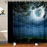 Cortina de ducha náutica exterior de tela de océano para niños y niñas, paisajes galaxia, accesorios impermeables con ganchos, cortinas de noche, luna, mar, 72 x 72 pulgadas