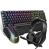 HAVIT メカニカルキーボード ゲーミングキーボード ゲーム マウス 50mm 高音質 マイク付き ヘッドホン セット LED有線 RGB ユニバーサル キーボードPCゲーマー コンピューターデスクトップ用 多色のバックライト US Layout HV-KB380L