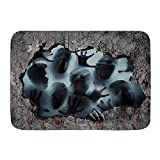 Bathroom Rugs Bath Mat,Horrible Halloween Screaming Human Faces Human Beings Become Zombies Hand Sticking Out of The Wall,Cozy Floor Rug Doormats Carpets Bathroom Decorations