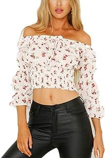 Blusa bohemia de gasa de manga corta con hombros descubiertos y volantes para mujer