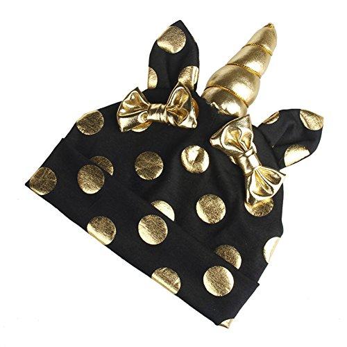 TININNA Coton Bowknot Dot Hat avec Licorne Mignon Bébé Beanie Cap Chapeau Protection Des Oreilles Chapeau Casquette Photo Accessoires pour Bébé Enfants Garçons Filles Noir