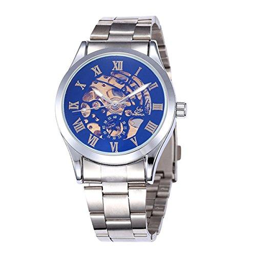 Pixnor Reloj de pulsera mecánico automático para hombre, correa de acero inoxidable, color negro y plateado
