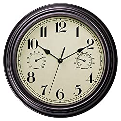 Foxtop Indoor Outdoor Waterproof Wall Clock with Thermometer and Hygrometer Combo, Retro Silent Non-Ticking Battery Operated Quality Quartz Round Clock for Patio Home Decor 12 inch (Bronze)