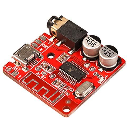 wanzhaofeng Placa de Circuito de Bricolaje Bluetooth Módulo Receptor inalámbrico para Coche Módulo Receptor de Audio de 3,5 mm Interfaz USB, Rojo