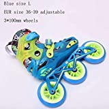 STBB Patins à roulettes Child Size Adjustable Speed Inline Skates Street Roller Skating Chaussures Blue L Taille de l'UE 36-39