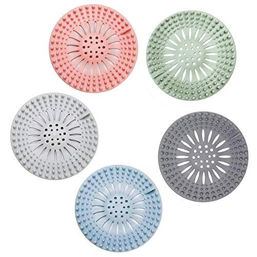 WDEC 5 Stück Silikon-Abflusssieb, Duschablauf, Haarfänger, reinigen, geeignet für Badezimmer, Badewanne und Küche, Hair Catch Drain, Duschabtropfer aus Silikon