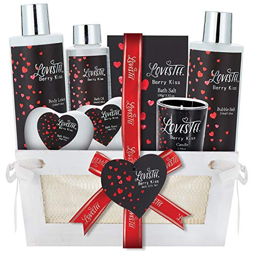 Spa Gift Basket for Women & Girls, Best Gift Idea for Christmas, Valentines & Mothers Day, Berry Kiss Bath and Body Set Includes Bubble Bath, Body Lotion, Bath Salt, Message Oil, Bath Bombs and Candle -  Lovestee, LS-50