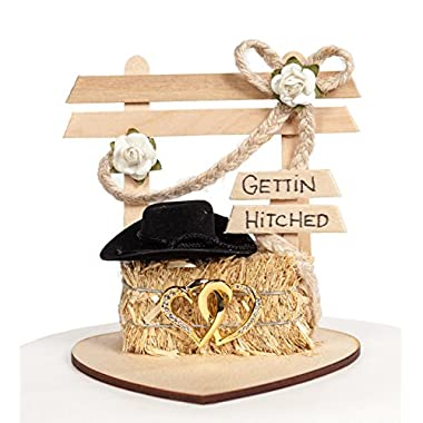 Wedding Collectibles Gettin Hitched Western Wedding Cake Topper: Heart Color: Gold