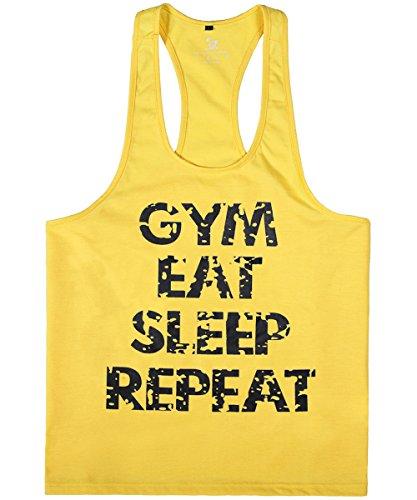 donhobo Tanktop Fitness Herren Sport Stringer Muskelshirt Gym Tank Top Bodybuilding Muscle Shirt Achselshirt(Gelb,L)