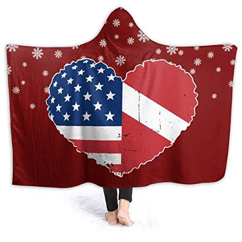 AEMAPE Snowing Dive Manta con Capucha de corazón con Bandera de EE. UU. para niños Manta de vellón Sherpa 80 'x 60'