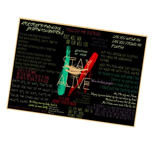 sanzhisongshu Hot Twenty One Pilots Poster. Vintage Retro Rock Band Music Guitar Matte Antique Kraft Paper Poster Wall Sticker W752 50X90CM