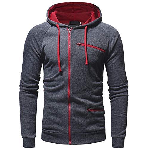 Chunmei Men's Hooded Jacket Long Sleeve Slim Hoodie Sweatshirt Hooded Pullover with Zipper Pockets Patchwork Sweat Jacket Autumn Winter Novelty Outwear Men Warm Sport Tops Men L